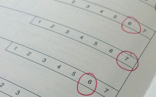 Page with numbers selected to demonstrate ranking CLASS instructional support