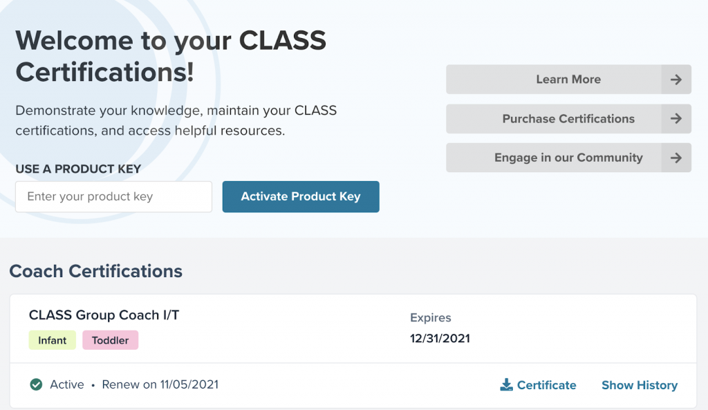 Certification screen with certifications