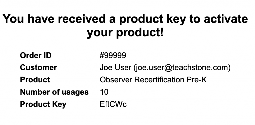 Product key email