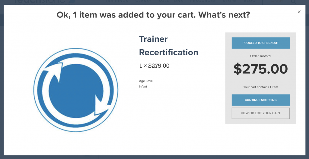 Recertification was added to cart