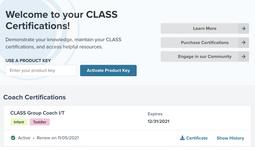 Certifications page